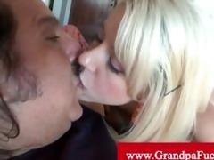 granddad bonks blonde teen from behind