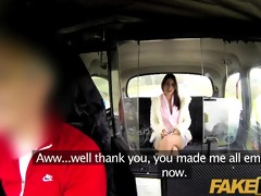 faketaxi fascinating brunette hair falls for