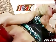 golden-haired in nylons receives off with fake