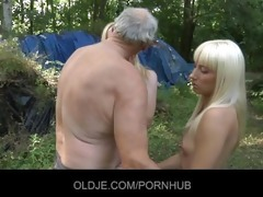 old woodcutter drilled by blond nubiles in the