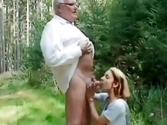 juvenile hotty helping an old guy wi...
