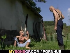 lustful gf cheats outdoors with her bfs dad