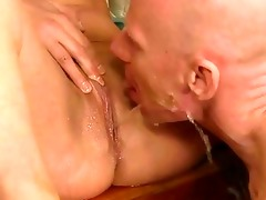 grand-dad and juvenile gal pissing and fucking