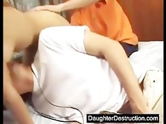 juvenile daughter humiliated in her face hole and