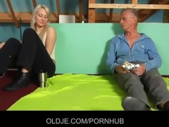 shy oldman enticed and screwed by cocky hussy