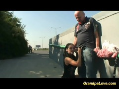 grand-dad fucking a nice brunette hair chick and