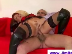 redhead in leather boots drilled by old lad
