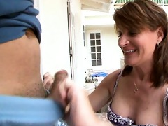 old brunette hair seduces younger dude!