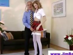 blonde masturbating before old man