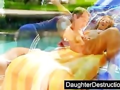 cute daughter drilled by dirty dude
